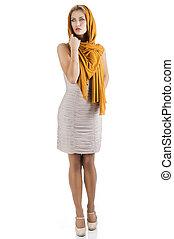 robe, droit, élégant, elle, blonds, girl, regarde