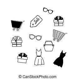 robe, ensemble, boîte-cadeau, icônes, lunettes, sale., chariot, ligne, écusson, sac