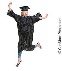 robe, entiers, jeune, remise de diplomes, longueur, portrait femme, sauter