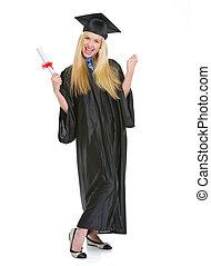 robe, entiers, reussite, réjouir, jeune, remise de diplomes, diplôme, longueur, portrait femme, heureux