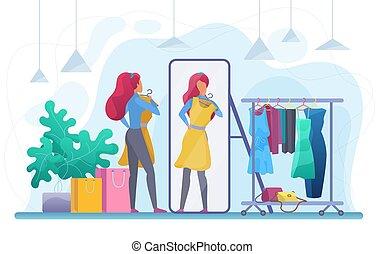 robe, essayer, girl, vecteur, plat, illustration