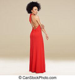 robe, femme, élégant, américain, africaine, rouges