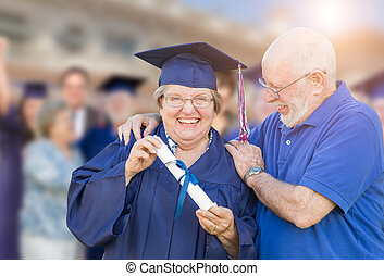 robe, femme, être, casquette, félicité, extérieur, adulte, personne agee, remise de diplomes, mari, ceremony.