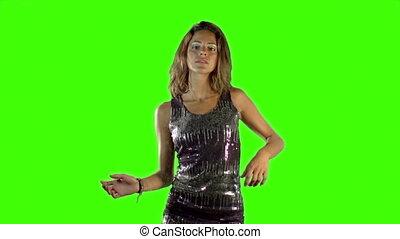 robe, femme, coup, danse, écran, sparkly, disco, élevé,...