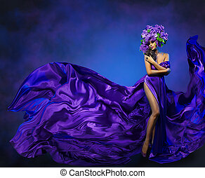 robe, femme, lilas, danse, tissu, beauté, voler, modèle, mode, couronne, fleur