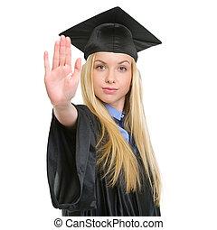 robe, femme, projection, arrêt, jeune, remise de diplomes, geste