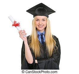 robe, femme, projection, jeune, remise de diplomes, diplôme, heureux