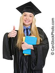 robe, femme, projection, jeune, remise de diplomes, haut, livres, pouces, heureux