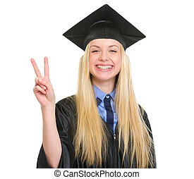 robe, femme, projection, jeune, remise de diplomes, victoire, geste, heureux
