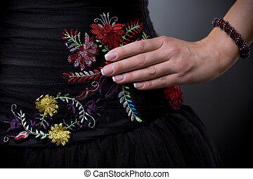 robe fleur, emroidery