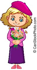 robe, fleurs blanches, fond, tenue, girl, rose