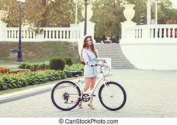 robe, girl, vélo, retro
