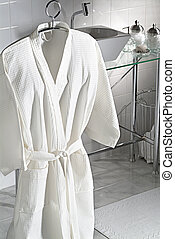 robe in the bathroom