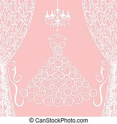robe, lustre, rideaux