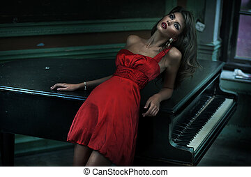 robe, mignon, femme, rouges, porter