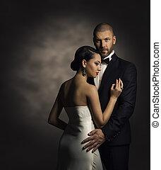 robe, mode, couple, femme, noir, riche, complet, blanc, homme