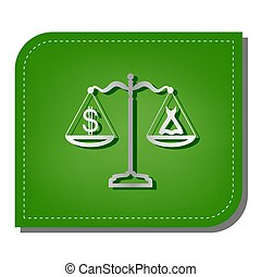 robe, ombre, dollar, argent, leaf., rapiécé, balances., écologique, ligne, illustration., vert, sombre, symbole, icône, gradient