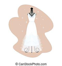 robe, robe, mode,  Mannequin, mariée, vecteur, mariage, blanc, habillement