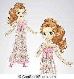 robe, romantique, beauté, princesse