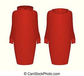 robe rouge, hoodie