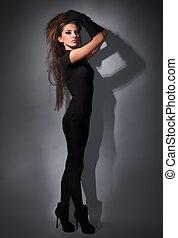 robe, studio, habillé, cheveux, mince, jeune, long, charme, combi, noir, clã©, sombre, portrait, dame