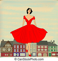 robe, style, girl, heureux, rouges, 1950's, retro