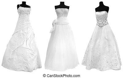 robe, trois, mariage