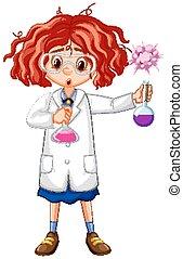 robe, tubes, tenue, essai, girl, science