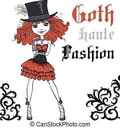 robe, vecteur, goth, chapeau, girl, noir, soie