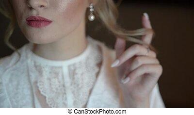 robe, wedding., prêt, luxe, magnifique, obtenir, mariée