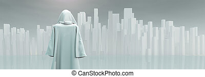 Robed Traveler before the pure city