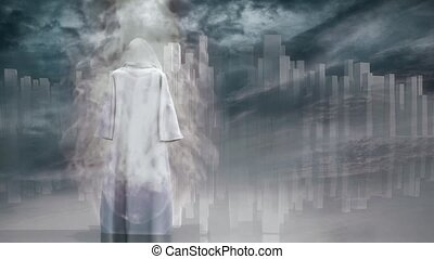 Robed Traveler in Flames before the pure city