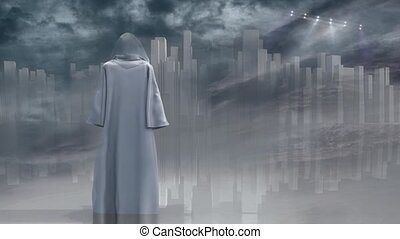 Robed Traveler - Robed traveler before the pure city