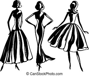 robes, soir, silhouettes, femme