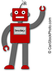 A fun retro robot cartoon character waving hello. The screen on his chest has the word 'Greetings'. If you have the vector version, then you can add any word you like!
