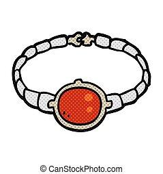 robijn, armband, spotprent