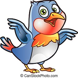 Robin Bird Mascot - Vector Illustration of Robin Bird...