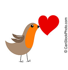 Robin bird with heart - Cute robin bird with red heart gift