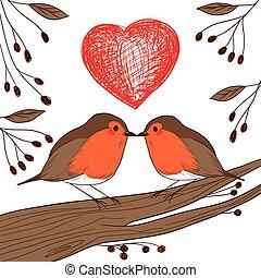Robin Birds In Love