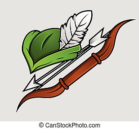 Robin Hood Cap and Archer Accessories Vector Illustration