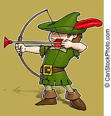 Robin Hood - Cartoon Illustration of a little boy dressed as...