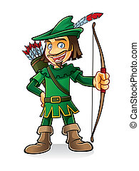 robin hood stood smiling and holding a bow