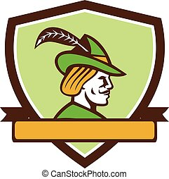Robin Hood Side Ribbon Crest Retro - Illustration of a Robin...
