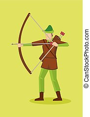 Robin Hood with Bow and Arrows Vector Cartoon Character Illustration