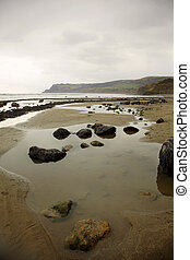 Robin Hoods Bay North Yorkshire when the tide is out