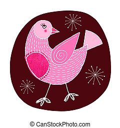 Robin Red Breast - Contemporary christmas illustration of a...