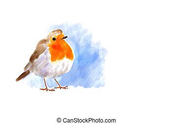 Robin - Digital watercolor illustration of a robin