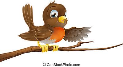 robin, vogel, op, tak, wijzende