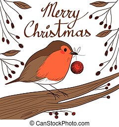 Robin With Red Bauble