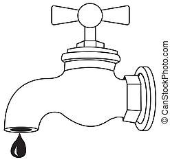 robinet, égouttement, huile